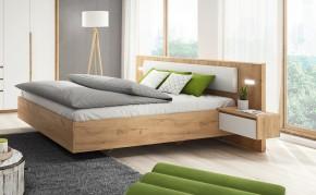 Postel Xelo 160x200 - 2x noční stolek (dub zlatý/bílá)