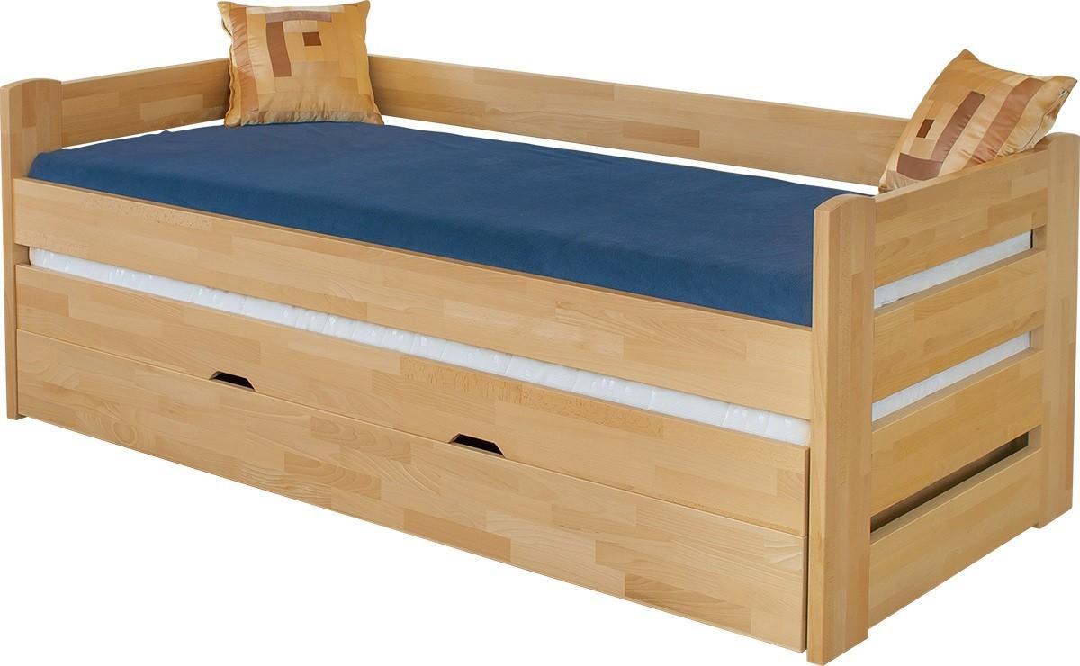 Postele z masivu Dřevěná postel Vario, 90x200, vč. roštu a úp, bez matrace
