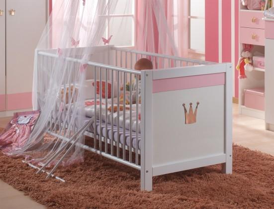 Postýlky a příslušenství Cinderella - Dětská postýlka (bílá, růžová)