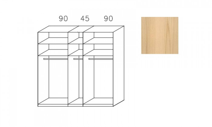 Posuvná Imperial-šatní skříň 3 dveře(1xzrcadl.dveře),3montované police
