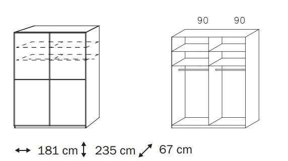Posuvná Linea (Alpská bílá/krémové bílé sklo)