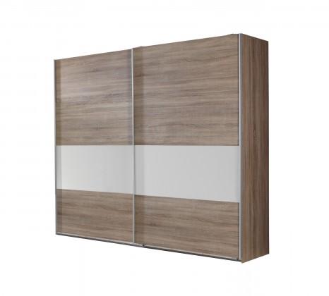 Posuvná Relax-skříň 270cm (bílé sklo, montana)