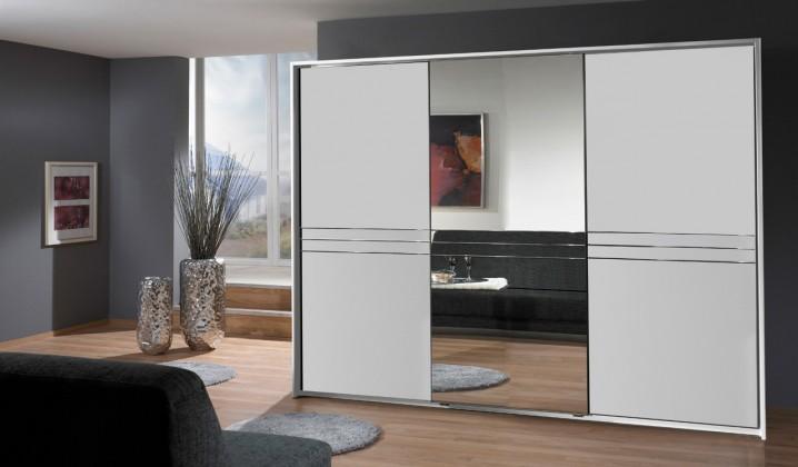 Posuvná Šatní skříň Medina - 3x posuvné dveře (alpská bílá)