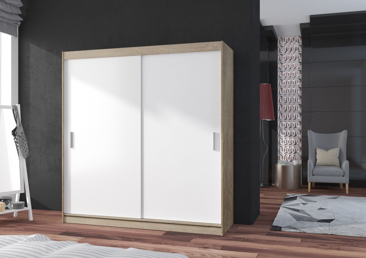 Posuvná Šatní skříň Pop - 180x215x60, posuvné dveře (bílá/dub sonoma)