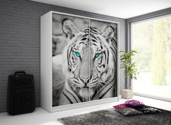 Posuvná Tygrys - Skříň, 200/214/62 (bílá/potisk)