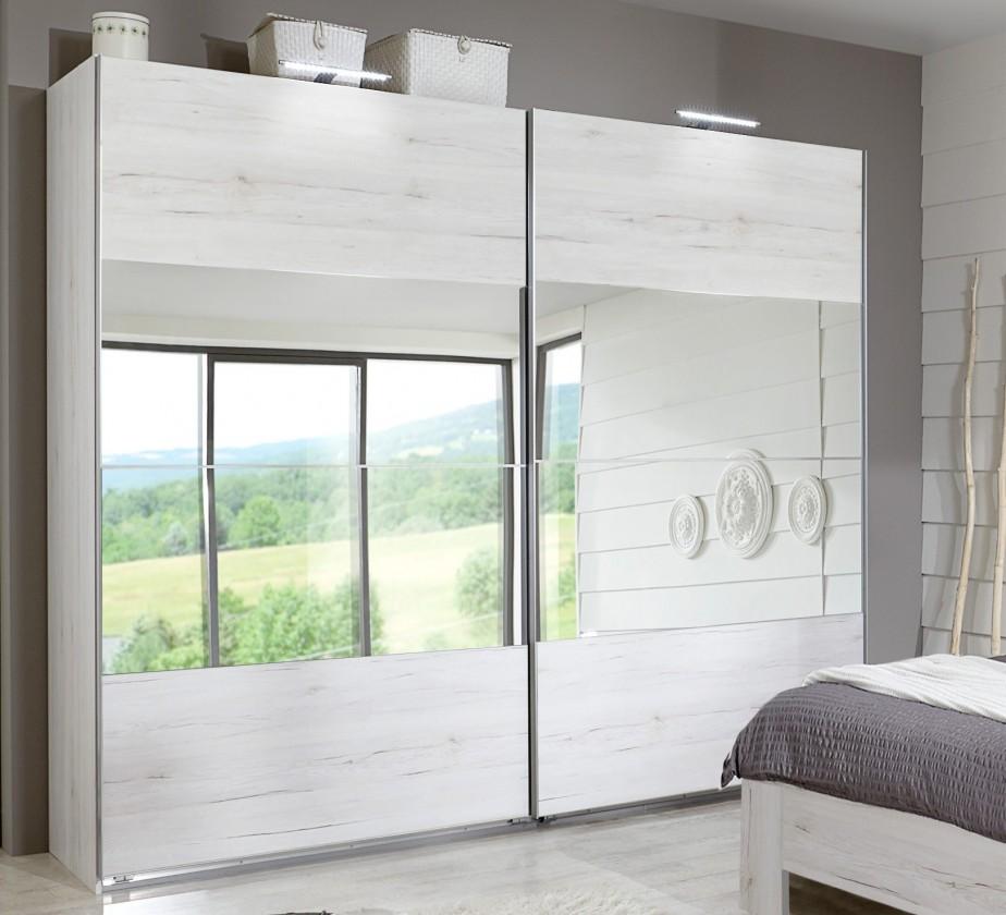 Posuvná Vicenza - Šatní skříň, 2x posuvné dveře (dub bílý)