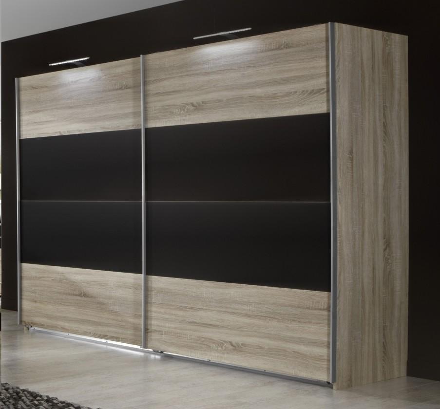Posuvná Vicenza - Šatní skříň 4, 2x posuvné dveře (dub/lava černá)