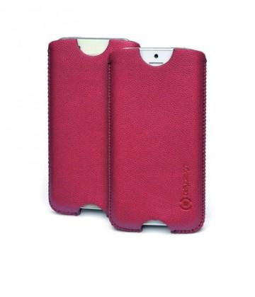 Pouzdra a kryty Celly koženkové pouzdro - Apple iPhone 5; vínové; blister