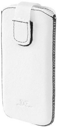 Pouzdra a kryty DC Cases kožený univerzální obal pro Samsung, HTC, SE, LG, bílá