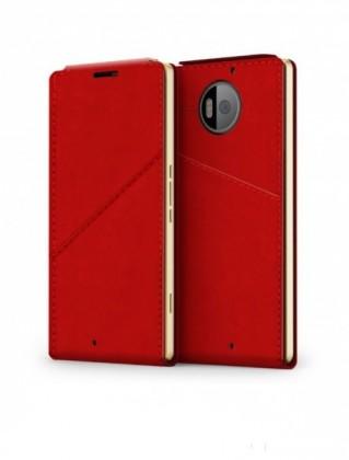 Pouzdra a kryty Mozo flip kryt kožený (bezdrát. nabíj.) pro Lumia950XL, červená