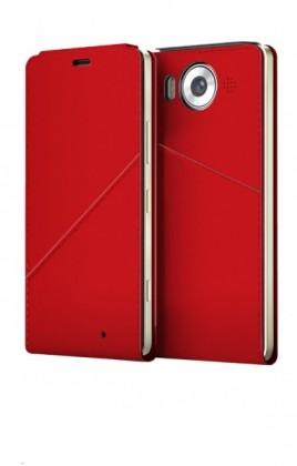 Pouzdra a kryty Mozo flip kryt kožený (bezdrát. nabíjení) pro Lumia 950, červená