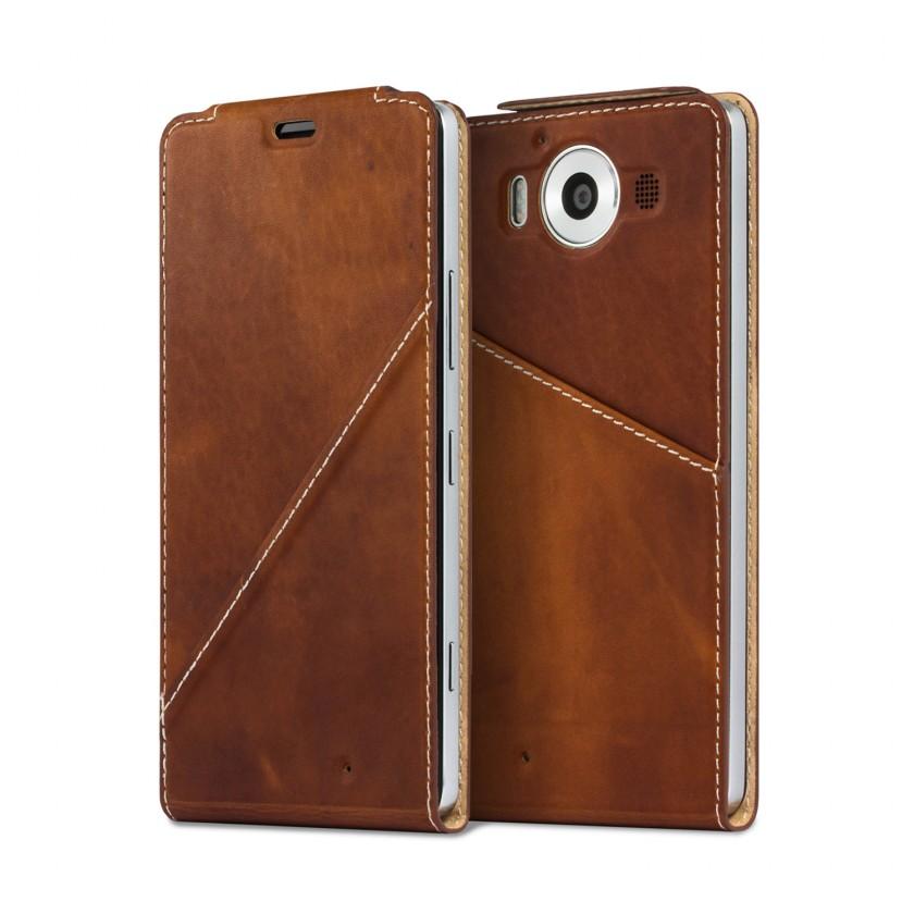 Pouzdra a kryty Mozo flip kryt kožený (bezdrát. nabíjení) pro Lumia 950, hnědá