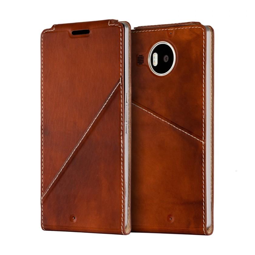 Pouzdra a kryty Mozo flip kryt kožený (bezdrát. nabíjení) pro Lumia 950XL, hnědá