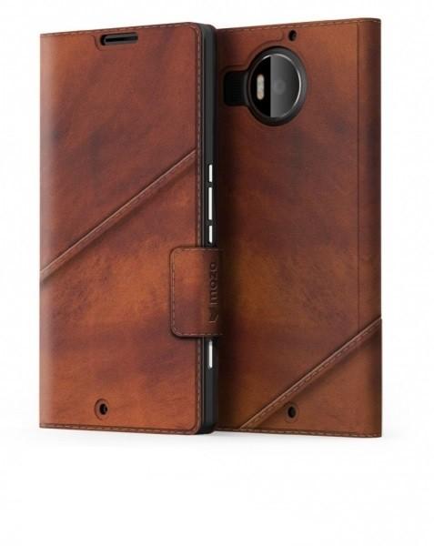 Pouzdra a kryty Mozo flipový tenký kryt kožený pro Lumia 950 XL, hnědý