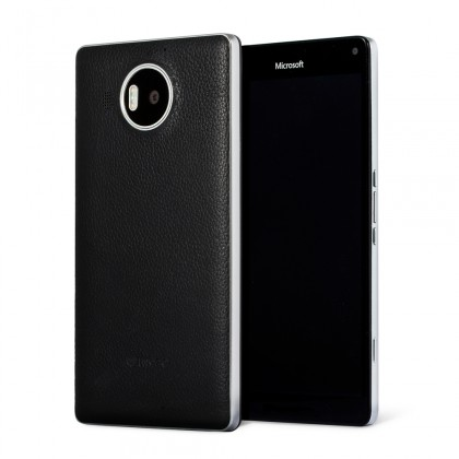 Pouzdra a kryty Mozo kryt kožený (bezdrát.nabíj.) pro Lumia950XL,černá/stříbrná