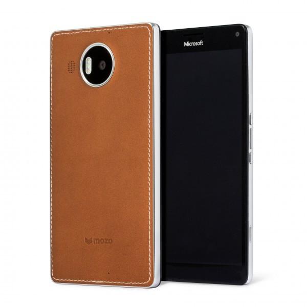 Pouzdra a kryty Mozo kryt kožený (bezdrát.nabíj.) pro Lumia950XL,hnědá/stříbrná