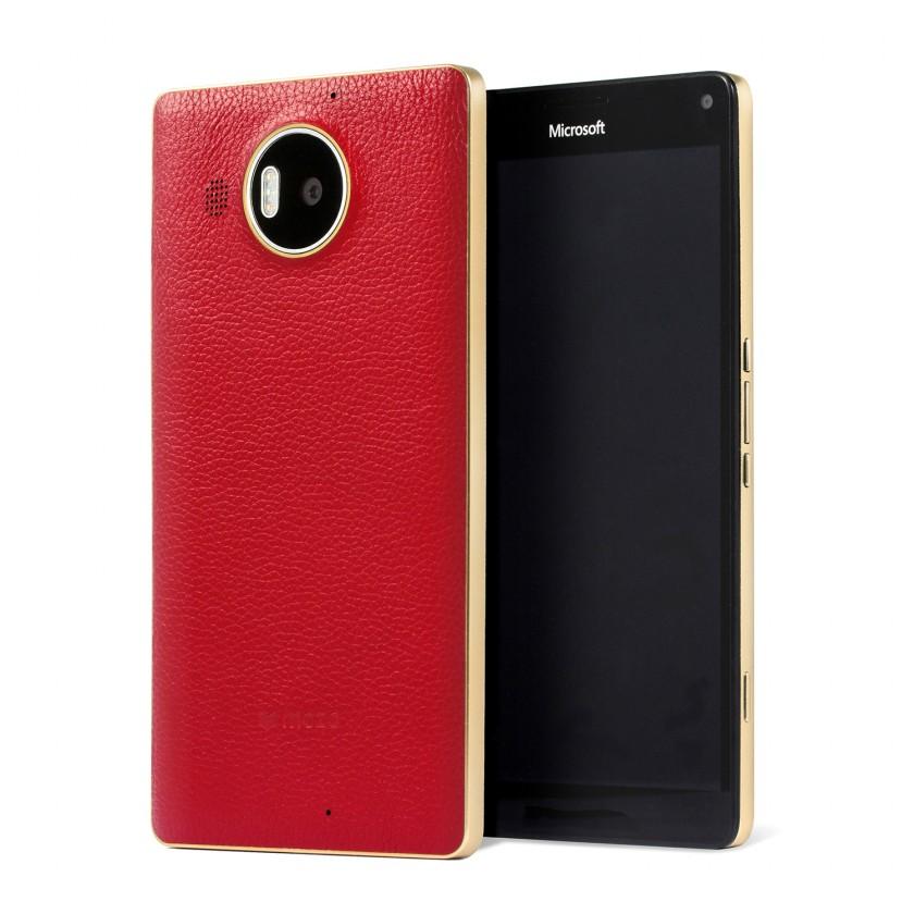Pouzdra a kryty MOZO zadní kryt pro Lumia 950 XL Červená kůže