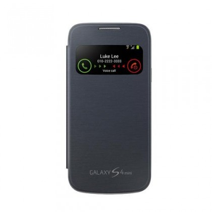 Pouzdra a kryty Samsung EF-CI919BB S-view Galaxy S4 mini pouzdro, černé