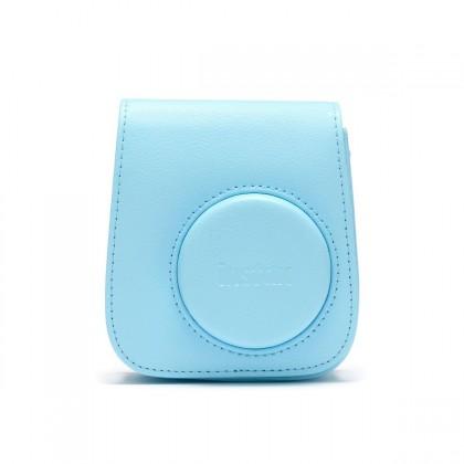 Pouzdra, obaly Pouzdro pro fotoaparát Instax Mini 11, kožené, popruh, modrá