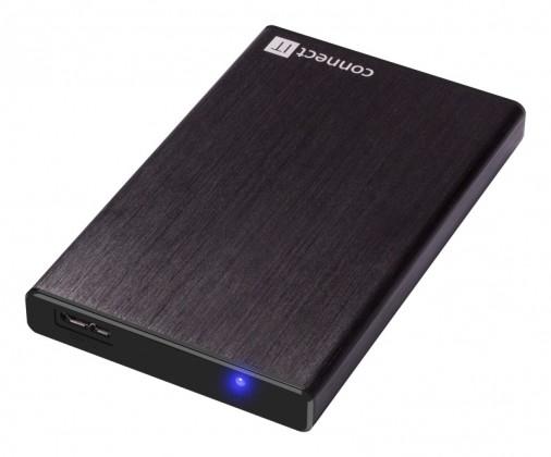 """Pouzdra pro HDD CONNECT IT externí box LITE pro HDD 2,5"""" SATA, USB 3.0 černý ROZB"""
