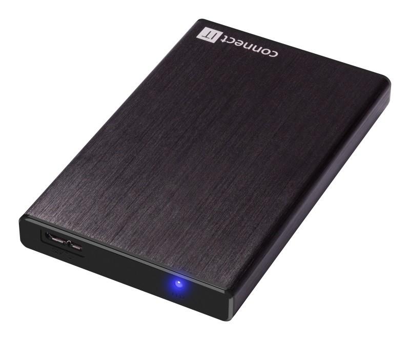 """Pouzdra pro HDD CONNECT IT externí box LITE pro HDD 2,5"""" SATA, USB 3.0 černý"""