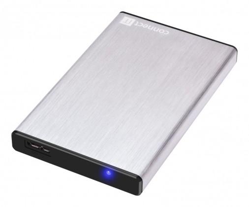"""Pouzdra pro HDD CONNECT IT externí box LITE pro HDD 2,5"""" SATA, USB 3.0 stříbrný"""
