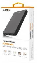 Powerbanka Aligator 10000mAh Li-Pol, 3v1 Micro, Lightning, Typ C