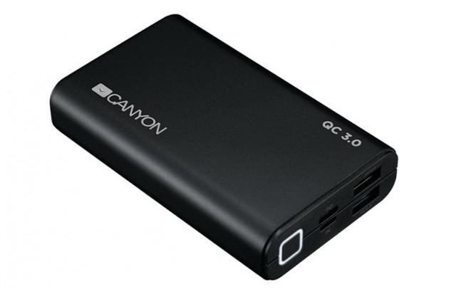 Powerbanka Canyon 10000mAh 2xUSB s rychlonabíjením, černá
