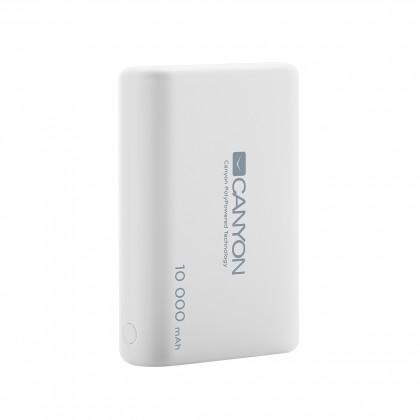 Powerbanka Canyon 10000mAh LiPol, 3v1 kabel, Smart IC, bílá