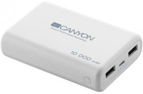 Powerbanka Canyon 10000mAh LiPol, 3v1 kabel, Smart IC, bílá