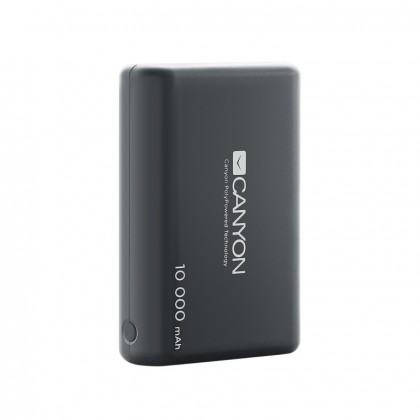 Powerbanka Canyon 10000mAh LiPol, 3v1 kabel, Smart IC, černá