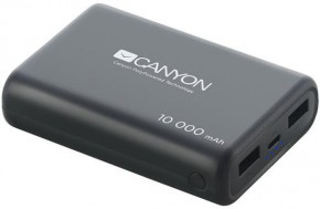 Powerbanka Canyon 10000mAh LiPol, 3v1 kabel, Smart IC, černá