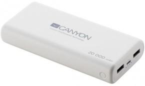 Powerbanka Canyon 20000mAh LiPol, 3v1 kabel, Smart IC, bílá