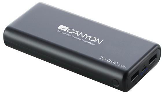 Powerbanka Canyon 20000mAh LiPol, 3v1 kabel, Smart IC, černá