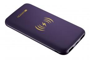 Powerbanka s bezdrátovým nabíjením 8000mAh, polymérová, fialová