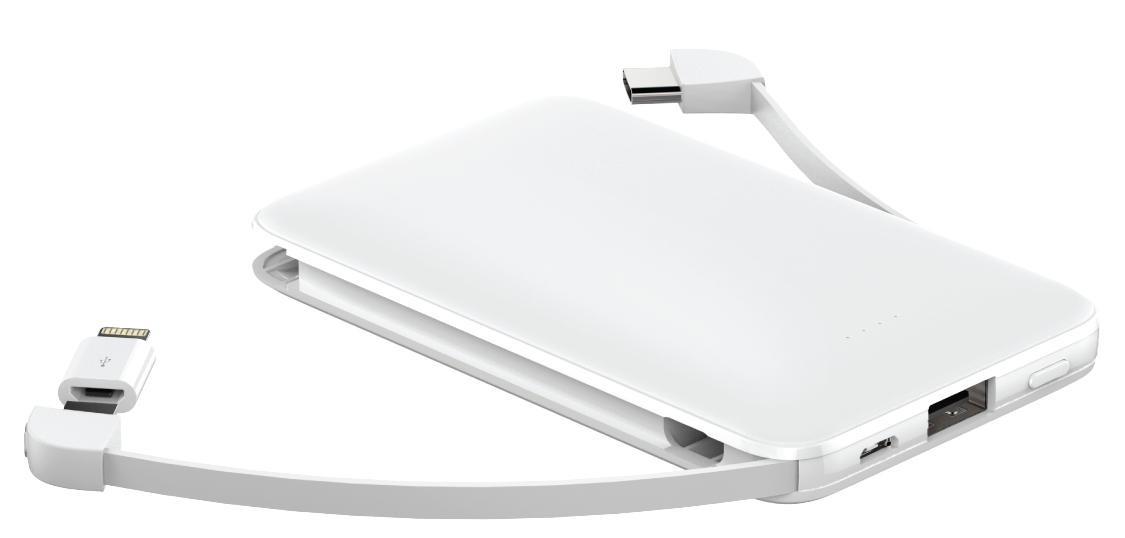 Powerbanky 3v1 PowerbankaWG 5000mAh MicroUSB + USB Typ C + Lightning,bílá