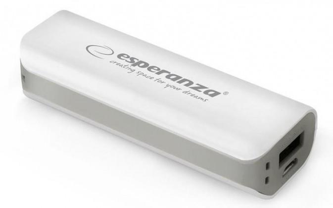 Powerbanky Esperanza EMP103WE JOULE externí baterie 2200mAh, bílo-šedá