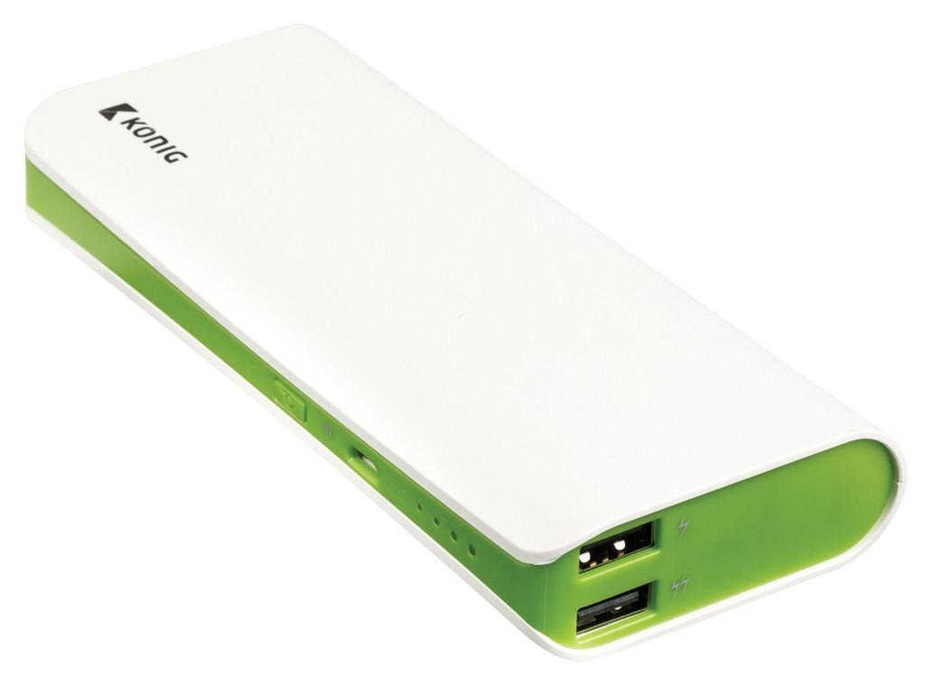 Powerbanky König 15000mAh, 1x5V/2,1A+1x5V/1A, zelený (CS15000PB001GR)