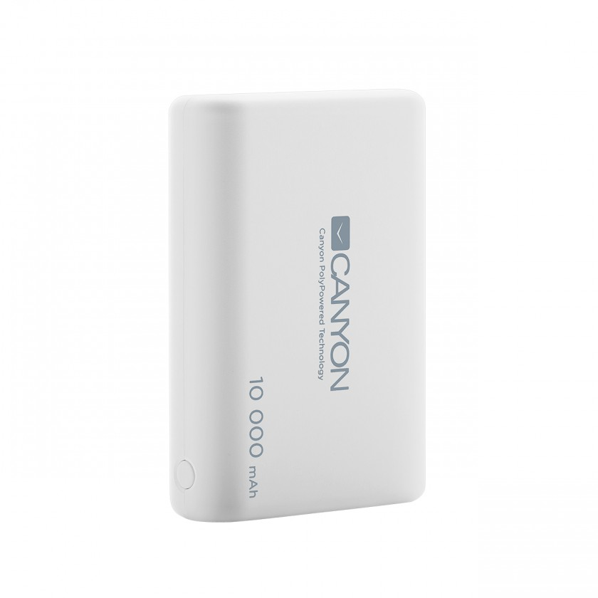 Powerbanky Powerbanka Canyon 10000mAh LiPol, 3v1 kabel, Smart IC, bílá