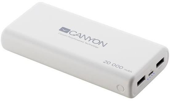 Powerbanky Powerbanka Canyon 20000mAh LiPol, 3v1 kabel, Smart IC, bílá