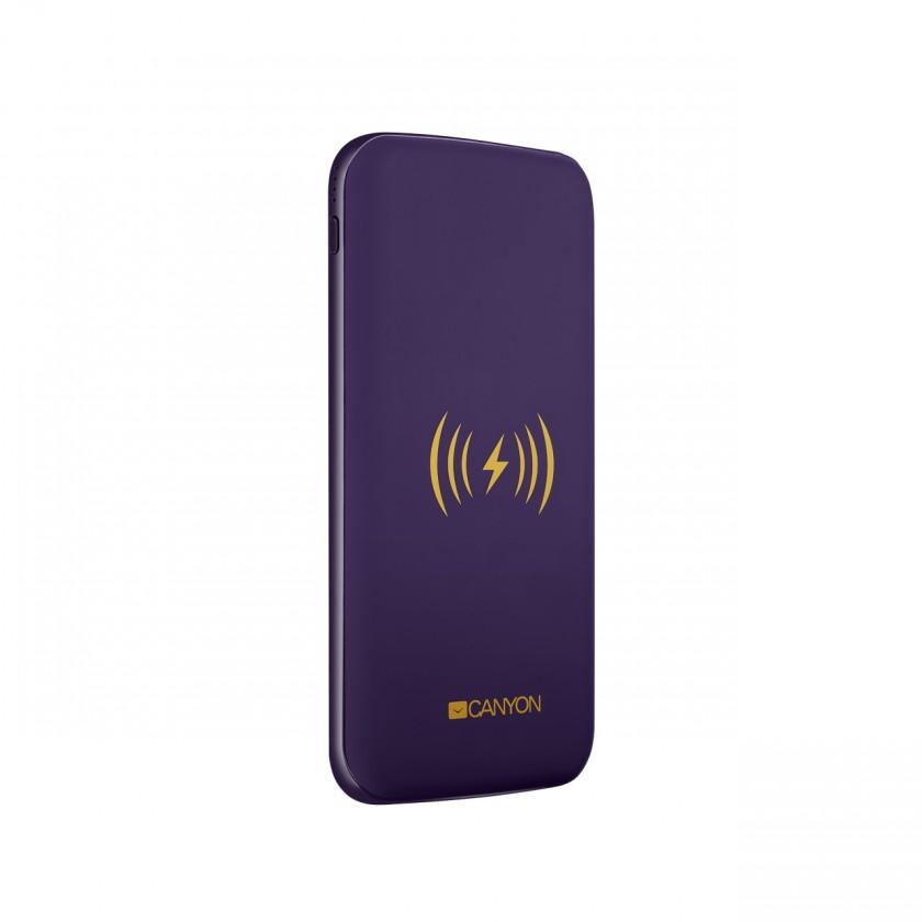 Powerbanky Powerbanka s bezdrátovým nabíjením 8000mAh, polymérová, fialová