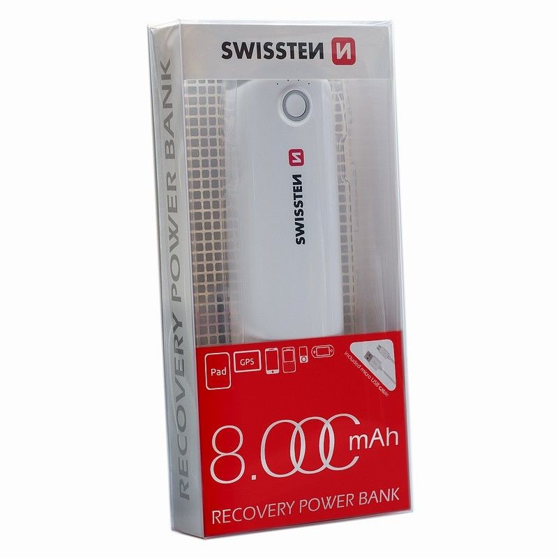 Powerbanky Powerbanka Swissten 8000mAh, Li-ion, 2xUSB, se svítilnou
