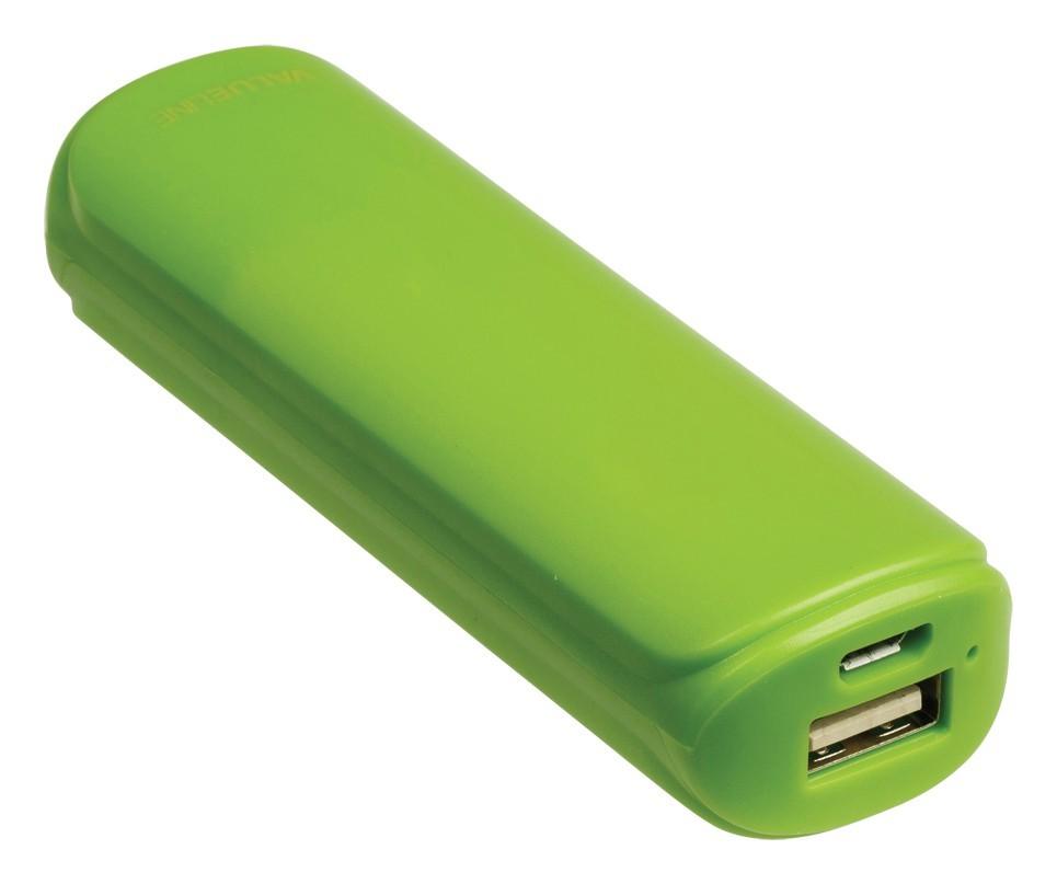 Powerbanky VALUELINE 2200mAh, 5V, 1A, zelený (VL2200PB001GR)