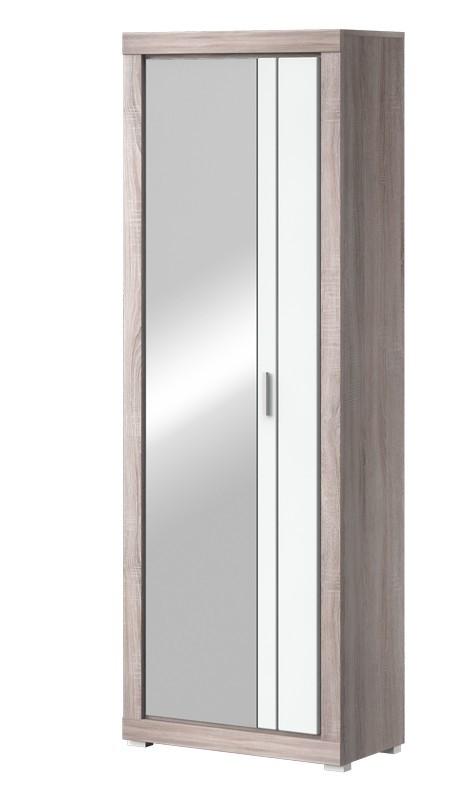 Předsíňová skřín Clark Typ 03 (dub bardolino/bílá arctic vysoký lesk)