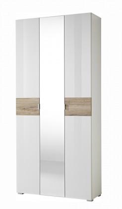 Předsíňová skřín GW-Alameda - Skříň se zrcadlem (bílá/dub sanremo)