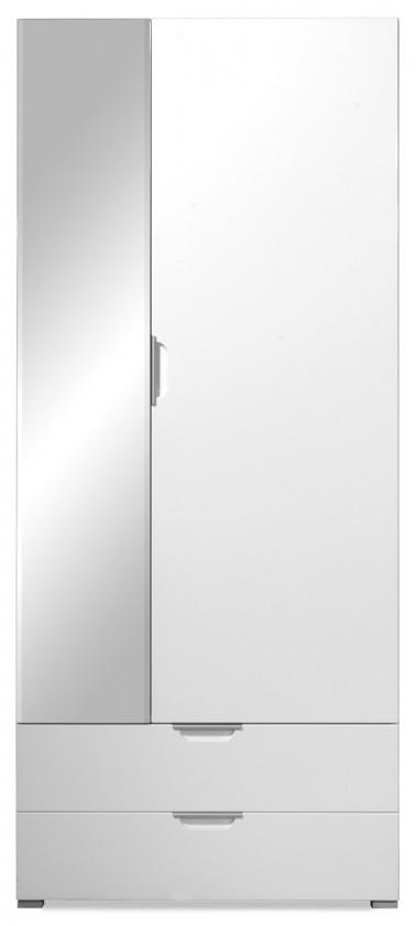 Předsíňová skřín GW-Gala - Skříň se zrcadlem, 2x zásuvka, 4x police (bílá)
