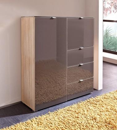 Předsíňová skřín GW-Perla-skříň,2xdveře,3xšuplík (dub sonoma-korpus/grafit-front)