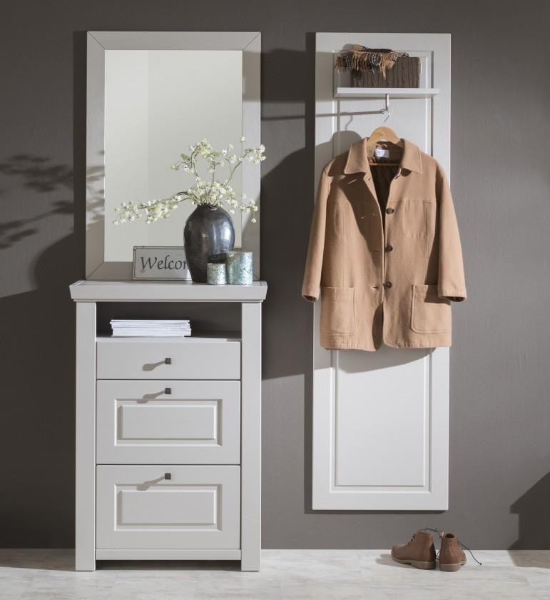 Předsíňová stěna Domi - Kombi 01, zrcadlo, komoda 3 zásuvky, šatní panel (kašmír)