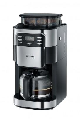 Překapávač kávy Kávovar Severin KA4810, nerez/černá, s kávomlýnkem