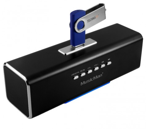 Přenosný stereo repro MusicMan, 600 mAh, FM-Radio, USB, černý